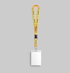 Realistic employee identification lanyard badge 3d vector