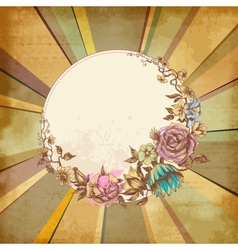 Retro floral round frame over old paper background vector