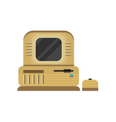 retro personal computer woth mouse vector image