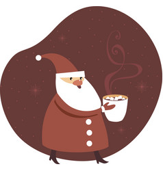 Santa claus holding a big mug cocoa vector