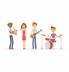 School music band - cartoon people characters vector