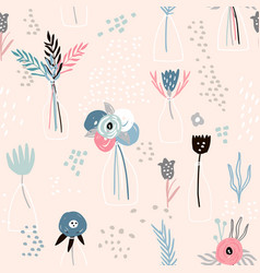 seamless minimalistic pattern with ink flowers in vector image