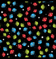 Seamless pattern with aliens vector