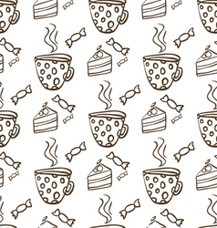 Seamless pattern with cups of tea and cakes vector