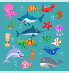 Set cartoon sea animals vector