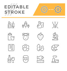 set editable stroke line icons allergy vector image