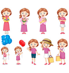 Set happy girl in pink doing different vector