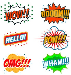 Set of comic style phrases Boom Wow OMG vector image
