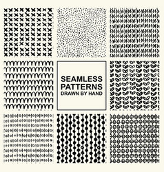 set of hand drawn seamless pattern vector image