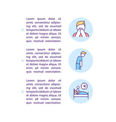 Sleep disorder from depression concept line icons vector