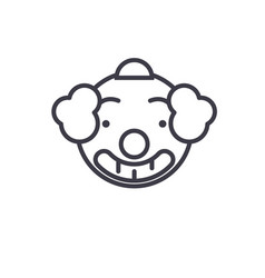 smiling clown emoji concept line editable vector image
