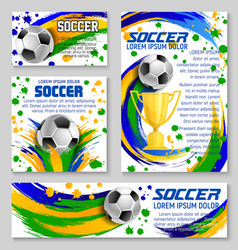 Soccer ball and trophy card of football sport club vector