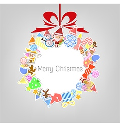 Stylized Colorful Background with Christmas Elemen vector