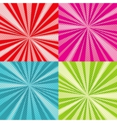 Sunburst rays comic pop art backgrounds set vector