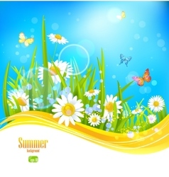 Sunny bright background with blue sky vector
