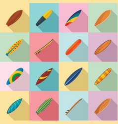 surfboard surf board icons set flat style vector image