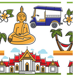 Thailand symbols seamless pattern architecture vector