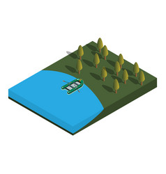 the concept of fishing the boat in the lake vector image