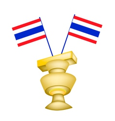 The Constitution on A Pedestal with Thai Flag vector image