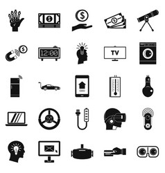 Tomorrow technology icons set simple style vector