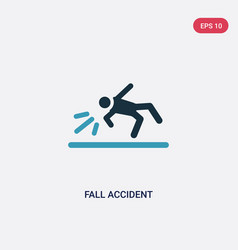 Two color fall accident icon from insurance vector