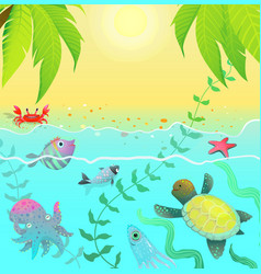 underwater life sea creatures tropical paradise vector image