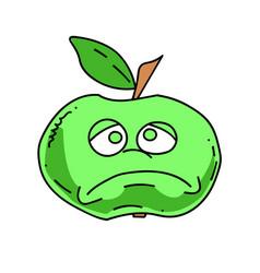 Unhappy apple cartoon hand drawn image vector