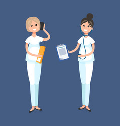 Veterinarian clinic doctor and receptionist worker vector