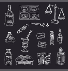 vintage apothecary hand drawn doodle set vector image
