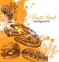 Vintage fast food background vector
