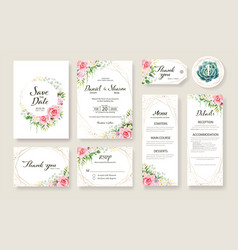 Wedding invitation card save date template vector
