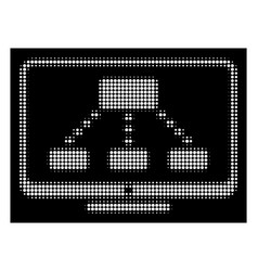 White halftone hierarchy monitoring icon vector