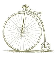 Woodcut vintage bicycle drawing vector