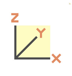 Xyz axis for graph statistics display icon vector