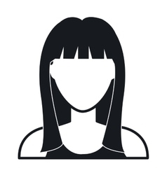 Young woman profile in black and white vector