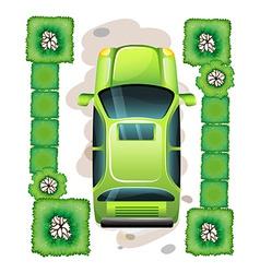 A topview of a green car vector image vector image