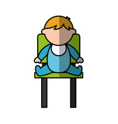 cute boy baby sitting on chair avatar character vector image