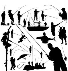 fishermen and fishing vector image vector image