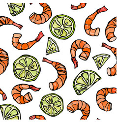 seafood seamless pattern shrimp or prawn and lime vector image vector image