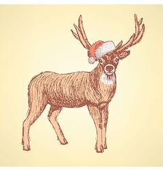 Sketch cute deer in vintage style vector image vector image