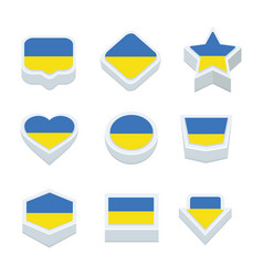 ukraine flags icons and button set nine styles vector image vector image