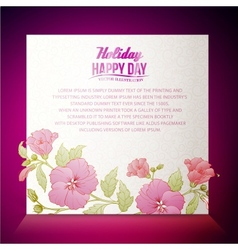 Vintage hibiscus flower on white background vector image