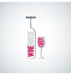 Wine bottle glass menu background vector