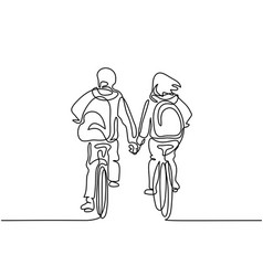 boy and girl bicycling to school vector image