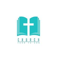 Church logo cross and abstract bible religion vector