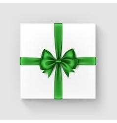 Square Gift Box with Shiny Green Bow and Ribbon vector image
