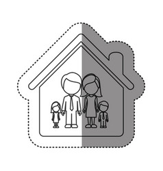 sticker of monochrome contour of faceless family vector image