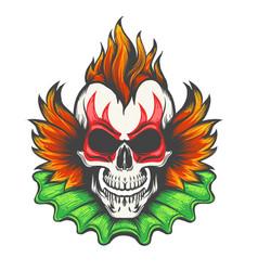evil clown skull vector image