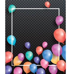 Holiday card with flying balloons and white frame vector image