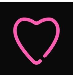Neon heart love symbol light design on the black vector image